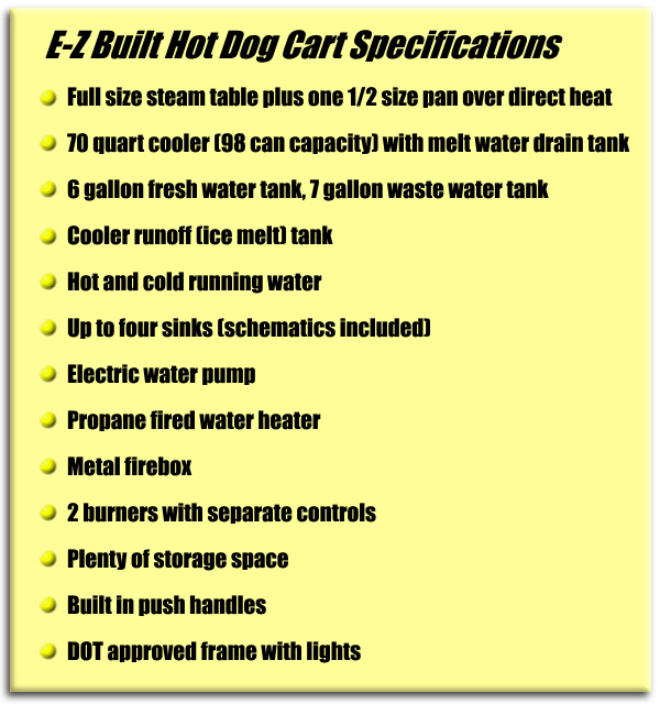 E-Z Built Hot Dog Cart Specifications